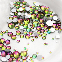 Mix Sizes Rianbow Non Hotfix Stone Nail Art Rhinestone Crystal Strass Glue On For Nails DIY