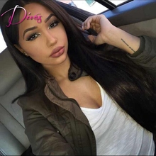 Silk Straight Brazilian Virgin Hair Full Lace Human Hair Wigs Natural Color Lace Front Wig For Black Women
