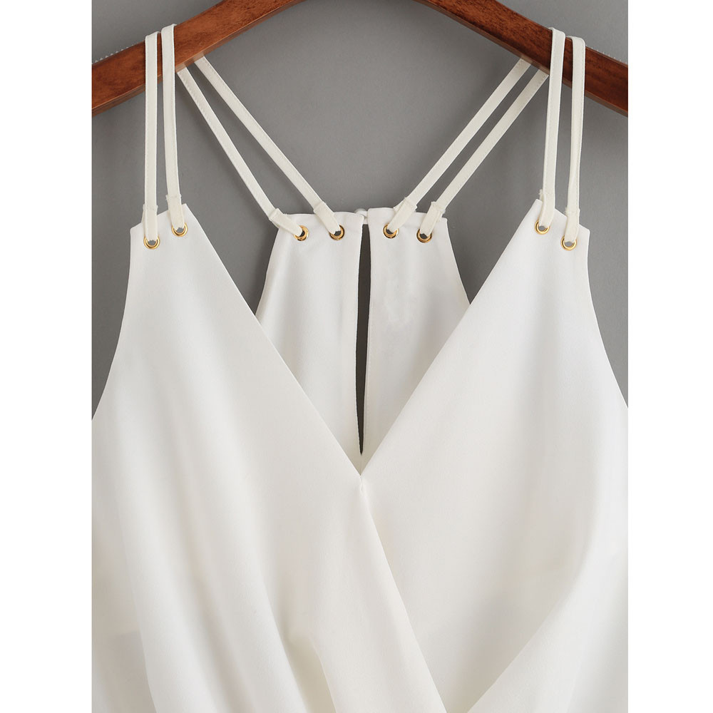 CHAMSGEND Preferential 2018 Women Casual Sleeveless Crop Top Vest Tank Shirt Blouse Cami Top White Dropship