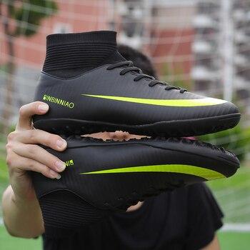 Tobillo altos Tops fútbol botas de fútbol picos largos y cortos Spikes hombres  fútbol zapatos zapatillas césped cubierta futsal 286266ebaa70b