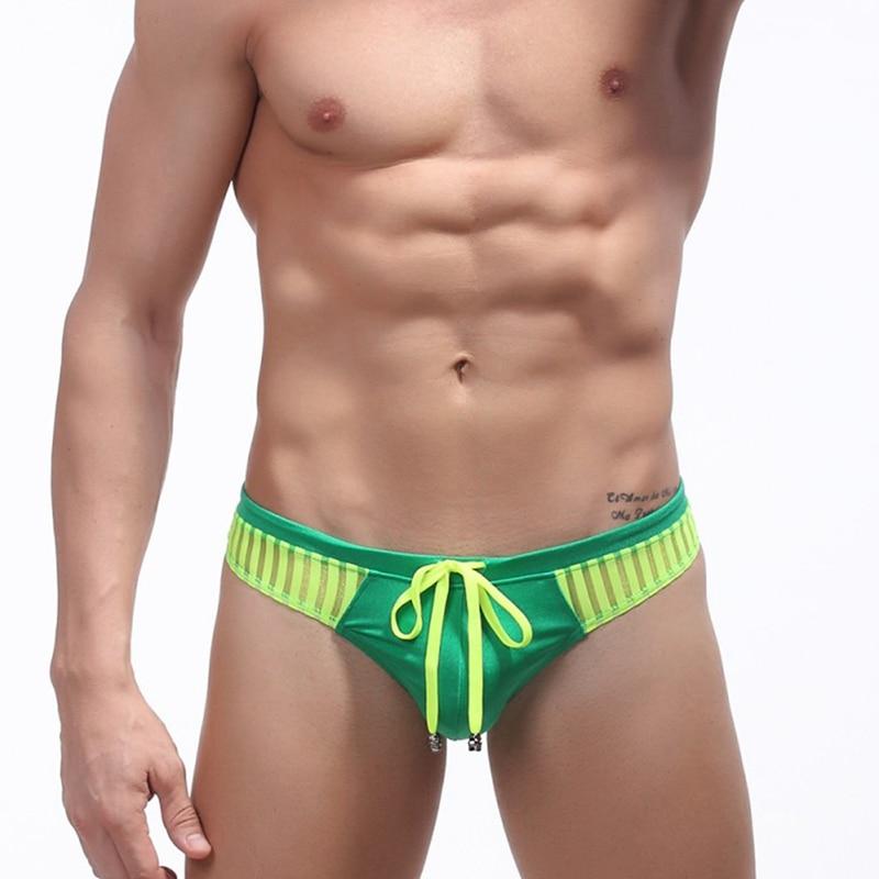 Swimwear Men Thongs Beach Shorts Sexy Mesh G String Low Waist Bikini Underwear Tanga Hombre Male G-String Cuecas Striped