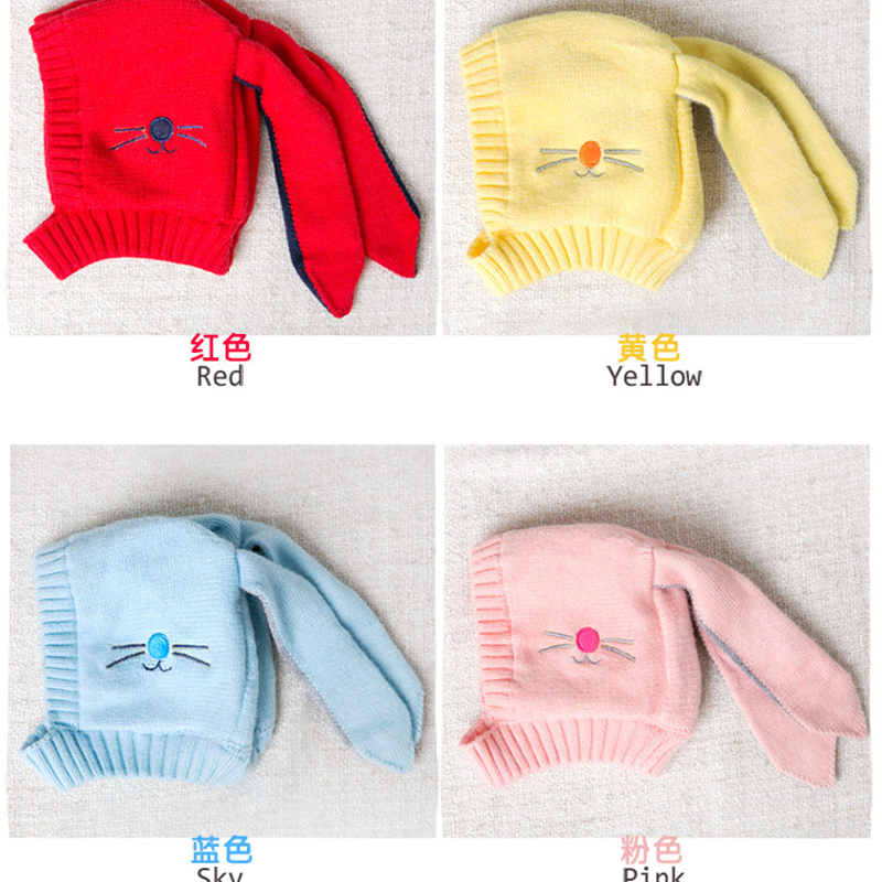 Autumn Winter Toddler Infant Knitted Baby Hat Adorable Rabbit Long Ear Hat Baby Bunny Beanie Cap newborn photography props
