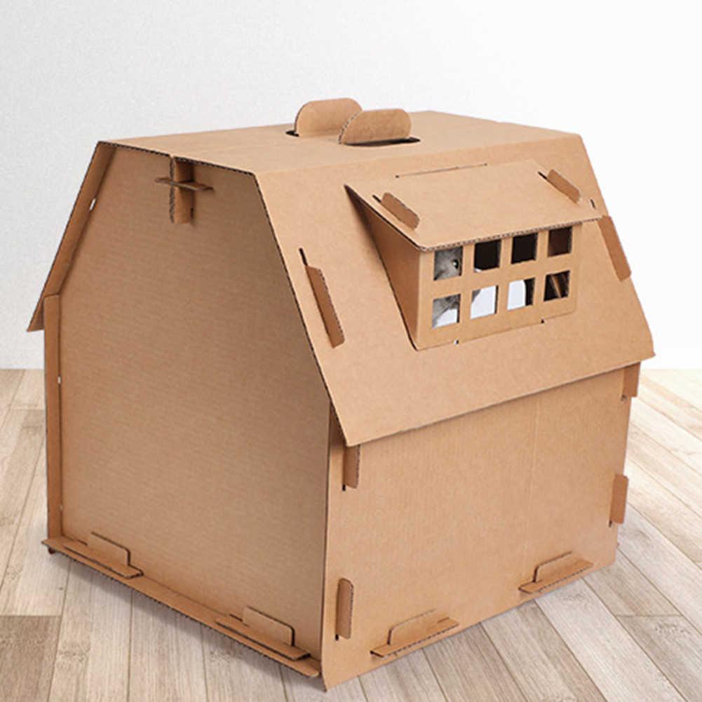 صندوق كرتوني بيت قطة المموج ورقة الحيوانات الأليفة أدوات الذاتي الجمعية الأثاث إمدادات يكون نافذة صغيرة داخلي اللعب DIY الصفر مجلس