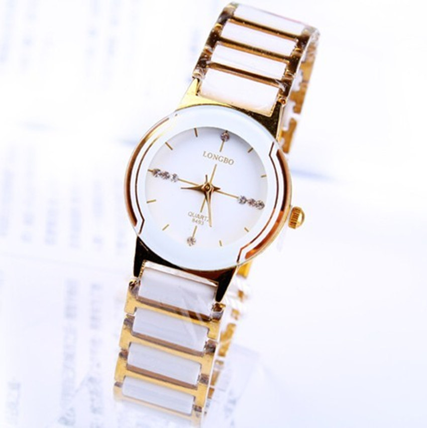 Wholesale Fashion Longbo Brand Rhinestone Exquisite Gift Ceramic Clocks Men Woman Lovers' Quartz Clock Dress Watches