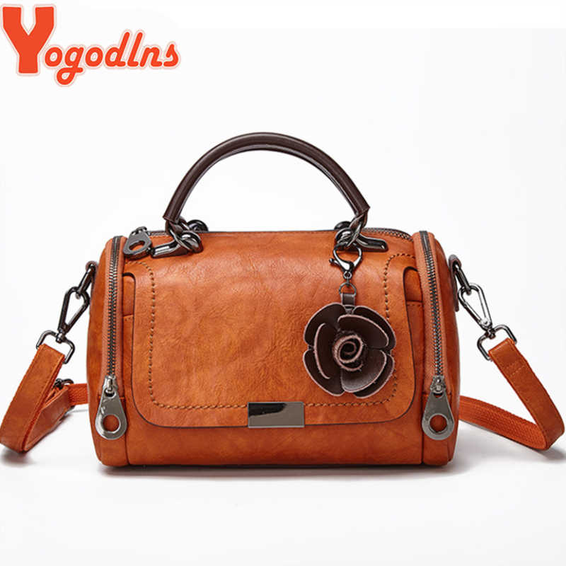 Yogodlns 2019 Nieuwe bloemen Hanger Handtas vrouwen fashion Boston tassen single schoudertas dames crossbody bag PU messenger bag