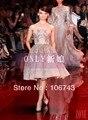 Бесплатная доставка 2014 новый дизайн vestidos Формальные короткие щели стиль платье Элегантный кристалл кружева бисером партия платье Коктейльные Платья