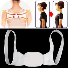 1pcs Adjustable Therapy Posture Body Shoulder Support Belt Brace Back Corrector Braces Supports Polyester White