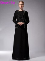 Long Black Floor Length Chiffon Mother Of The Bride Dresses With Jacket A Line Beading Mother