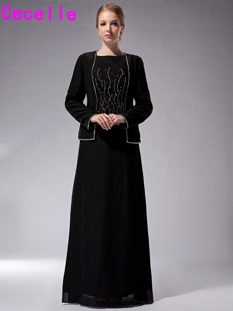 Long Black Floor Length Chiffon Mother Of The Bride Dresses With Jacket A Line Beading