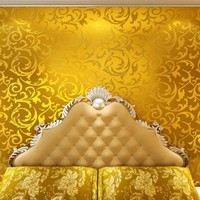 European Style Living Room TV Background Wall Paper Bedroom KTV Non Woven Fabric Flash Gold Foil
