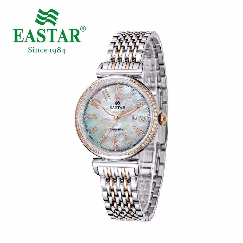 Eastar 시계 여성 스테인레스 스틸 손목 시계 쉘 다이얼 다이아몬드 케이스 시계 크리스탈 30 m 방수 일본 석영 운동 시계-에서여성용 시계부터 시계 의  그룹 1