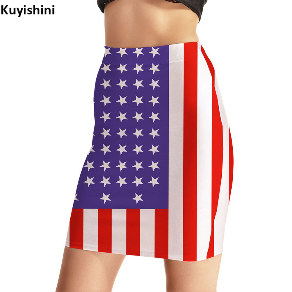 Plus Size 2xl 3xl 4xl summer fall american flag printed package hip skirts women's sexy tight stretch pencil mini skirt 8281416