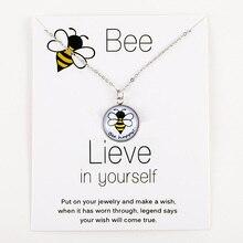 Bee Honeybee Unicorn Pendants Necklaces Flamingos Mermaid 18mm Glass Cabochon Women Men Girl Fashion Jewelry Party Birthday Gift