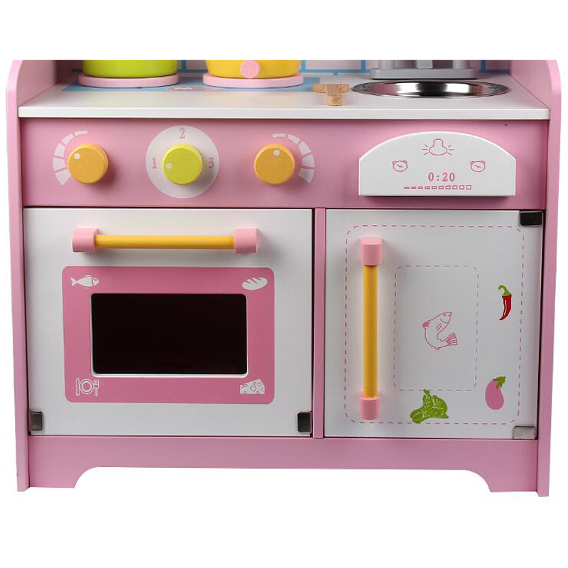 Kids Wooden Kitchen Toys Simulation Japanese-Kitchen-Style Pretend Play  Cooking Stoves with Sound Storage Drawer Girls Playset