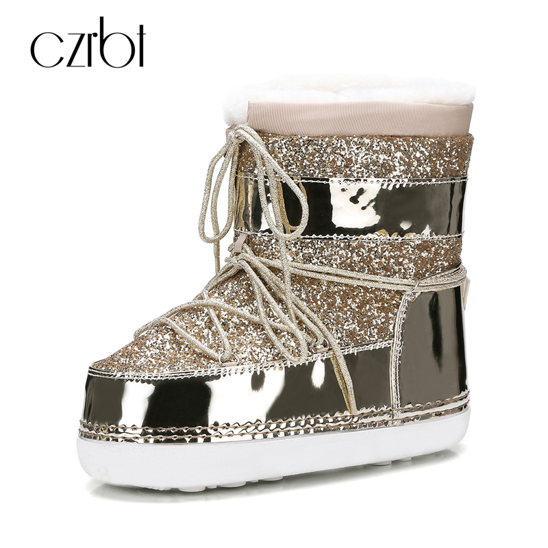 CZRBT New Arrivals Women Boots High Quality Sequined Cloth Round Toe Snow Boots Woman Winter Fashion Snow Boots Warm Wool Shoes