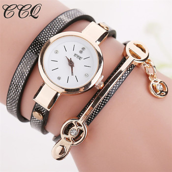 CCQ Hot Women Long Leather Bracelet Watches Gold Fashion Quartz Watch Casual Wrist Watch Relojes Mujer Relogio Feminino 1657