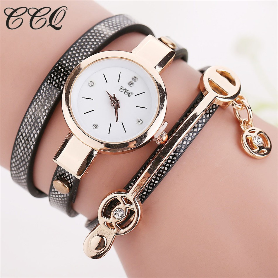 CCQ Hot font b Women b font Long Leather Bracelet font b Watches b font Gold
