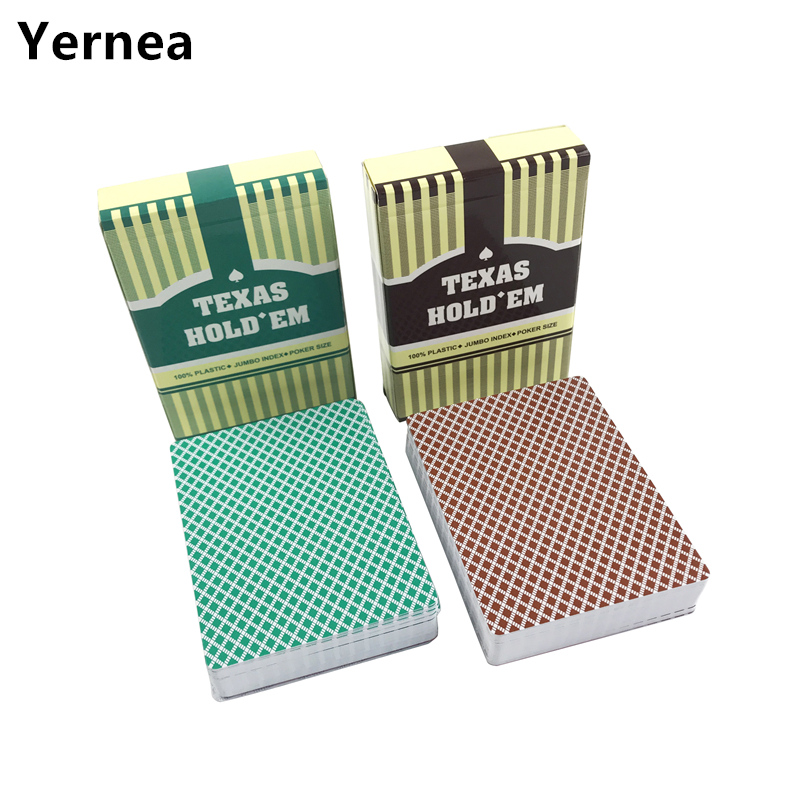 Yernea 2Sets/Lot Baccarat Texas Holdem Plastic Playing Cards Frosting Poker Cards Green And Brown Board Games 2.48*3.46 inch