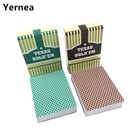Yernea 2Sets/Lot Baccarat Texas Hold'em Plastic Playing Cards Frosting Poker Cards Green And Brown Board Games 2.48*3.46 inch