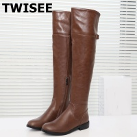 TWISEE Hot Sale Round Toe Pu Leangth Women Boots Low Heel Knee High Shoes Autumn Winter