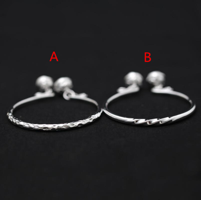 Simple smooth and shiny 990 sterling silver fashion bell opening adjustable texture bangle