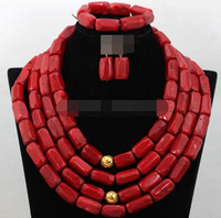 Free shipping charm Jew.656 Red Natural Coral Beads Jewelry Set,African Necklace Set