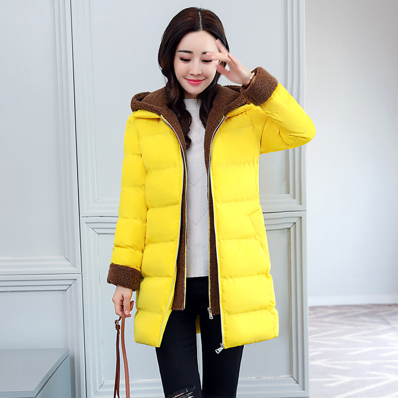 Parka Femme yellow Épais Black Manteaux Hiver Mode Veste Chaud Dames Coton 2018 Col Patchwork Femmes Outwear orange Capuche Rembourré green RvpHqBd