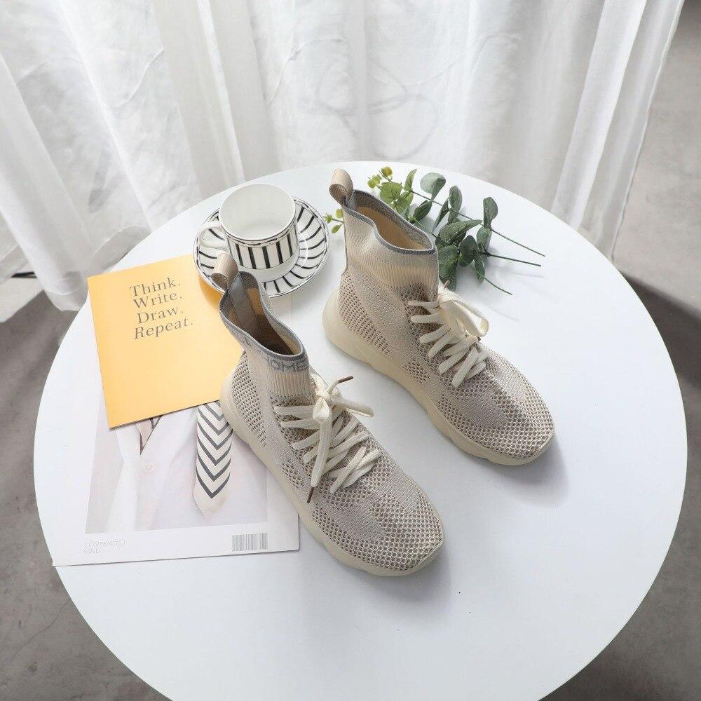 2d59ed46 Moda Jookrrix Plataforma Mujer Alta Elasticidad Calzado Señora Zapatos Marca  De Para Otoño Top Nuevo Tejer Beige Chaussure Calcetín 0wrxqAR0