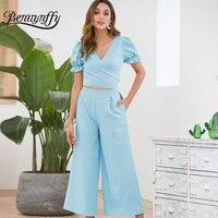 Benuynffy Solid Wrap V Neck Tie Back High Waist Jumpsuit Summer Women Elegant Pocket Short Sleeve Workwear Wide Leg Jumpsuit