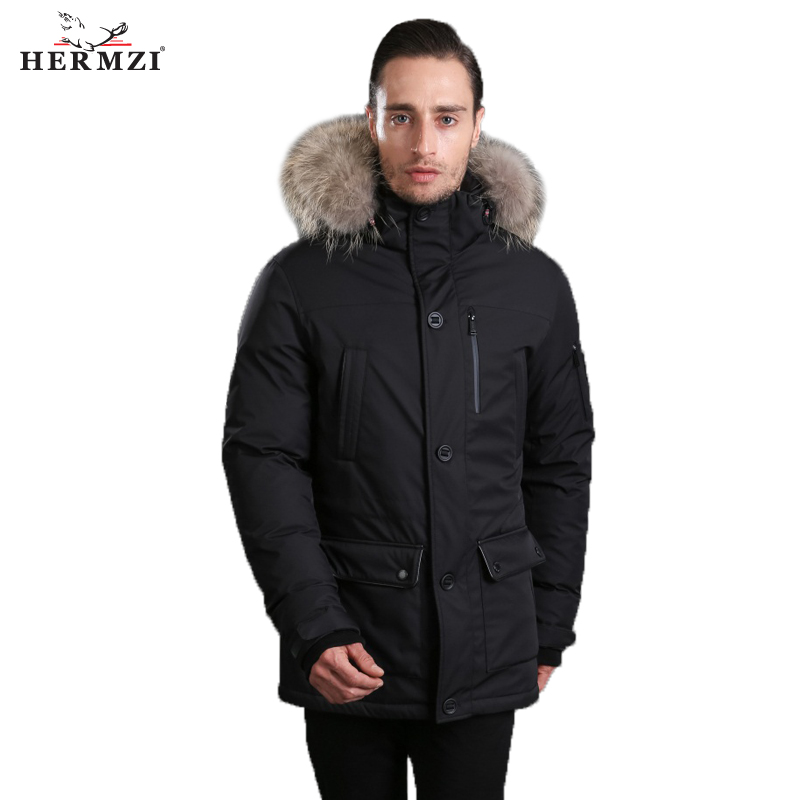 HERMZI 2019   Down   Jacket Men Winter Parka Hombre Winter   Down     Coat   Thick Mens Parkas Black 80% Duck   Down   Raccoon Fur Free Shipping