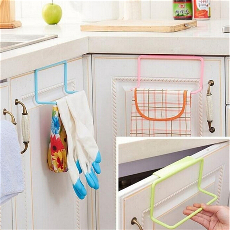 Us 1 79 31 Off Cupboard Hanger Bar Hook Bathroom Kitchen Top Home Organization Candy Colors Over Door Tea Towel Holder Rack Rail In Racks From