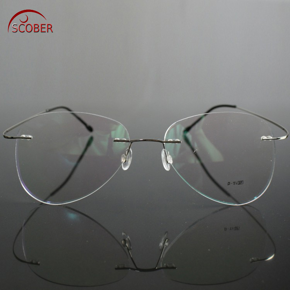 SCOBER Large Frame Pilot New B Titanium ONLY 2G Ultra-light Elasti MEN WOMEN Rimless READING GLASSES +0.75 +1 +1.25 +1.75 To +4