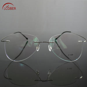 d22aca54d1 SCOBER Frame Titanium Rimless READING GLASSES 0.75 1.75 4