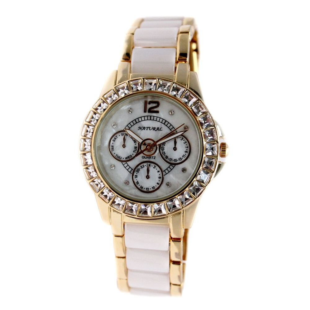 Alexis Brand Ceramic Crystal Watches Gold With White Ceramic Band Water Resist Bracelet Watch women 2017
