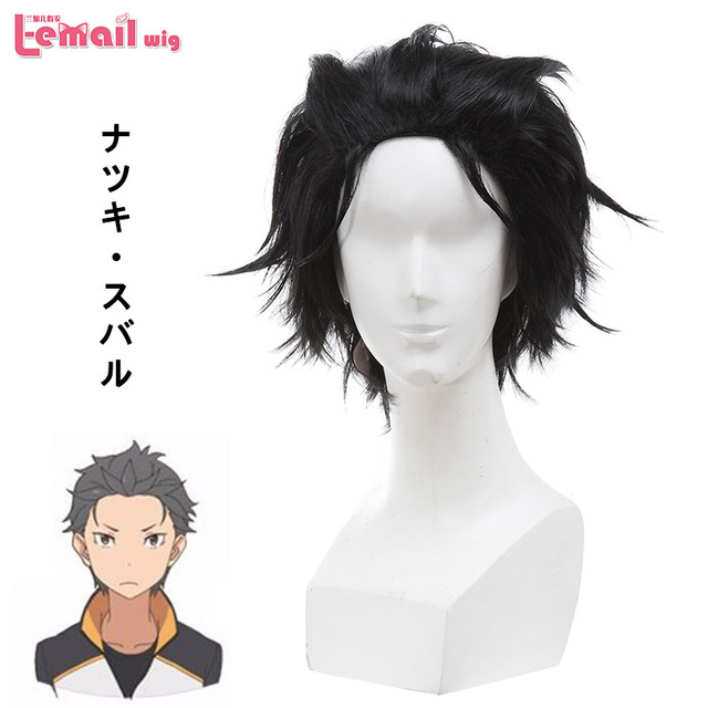 L-email wig New Anime Life in a Different World from Zero Natsuki Subaru Black Short Styled Cosplay Wigs Costume Hair ZY212