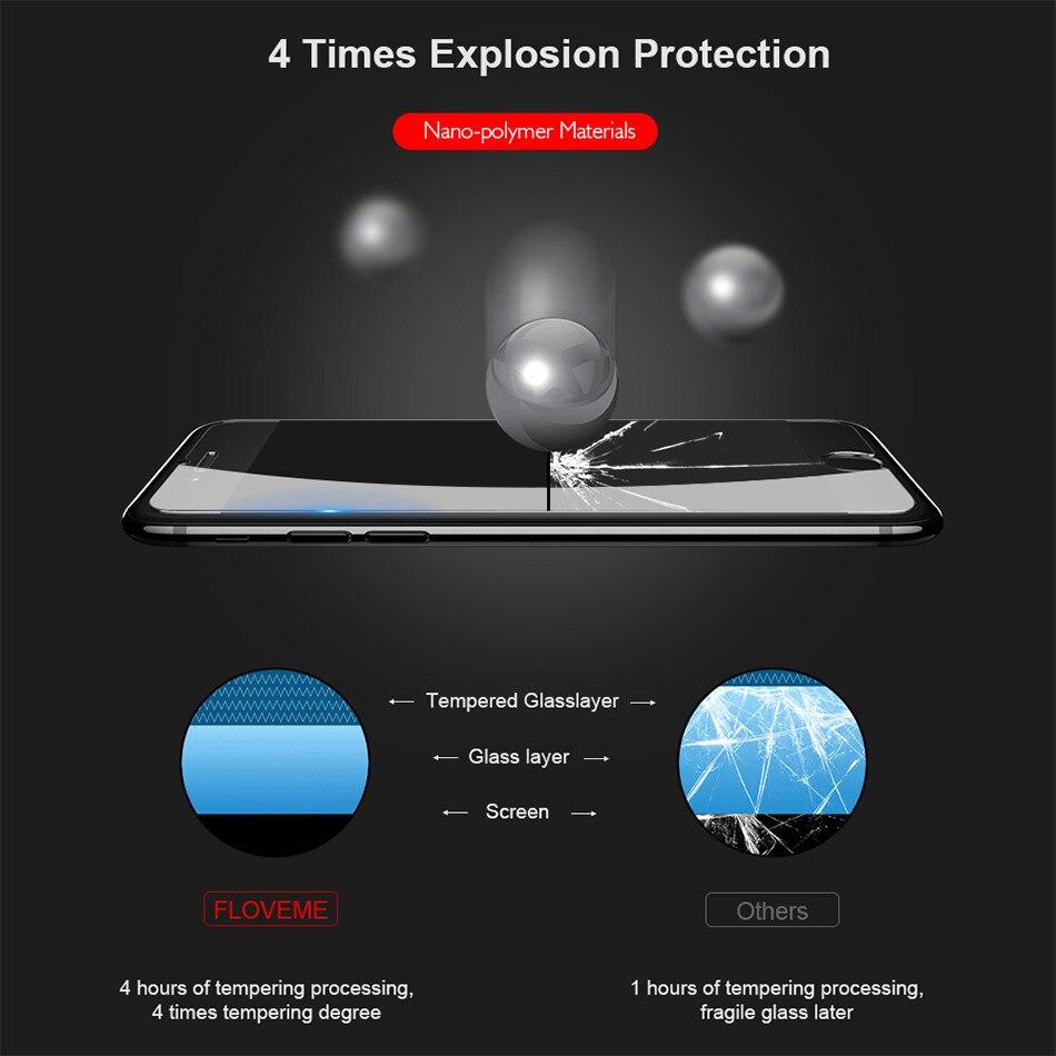 3a99b994df3 ... vidrio templado para iPhone, 0,33mm Ultra fino suave toque de alta  definición Protector de pantalla, 9 H 2.5D película protectora Floveme  Original marca ...