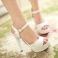 Сандалии летние женские сексуальные туфли на высоком каблуке тонкие каблуки белый открытым носком обуви женские туфли на платформе
