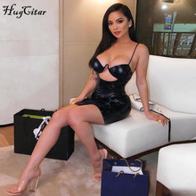 Hugcitar PU spaghetti straps hollow out sexy high waist slim black solid 2019 summer women new fashion party bodycon mini dress