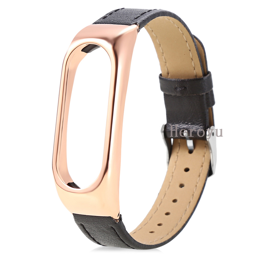 Leather Strap With Metal Housing Gold for Xiaomi Mi Band 2 Smart Bracelet Replace Wearable Accessories Free Cover Black Red