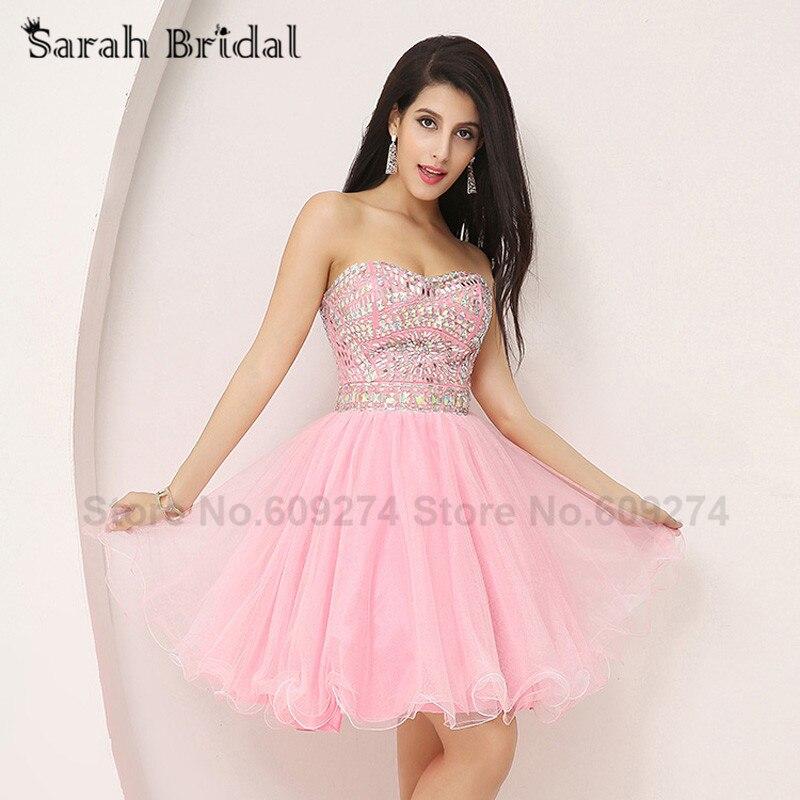̿̿̿(•̪ )Rosa cristales de lujo vestido de cóctel 2015 nuevas ...