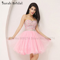 Pink Luxury Crystals Cocktail Party Dress 2015 New Arrivals Sexy Sweetheart Short Homecoming Dress Vestidos De
