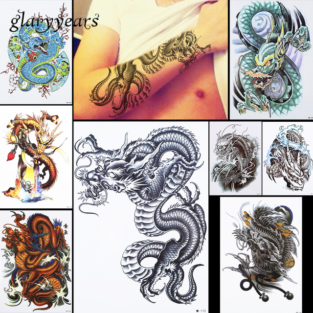8 Pieces Dragon Motif Conception Temporaire Autocollant De Tatouage