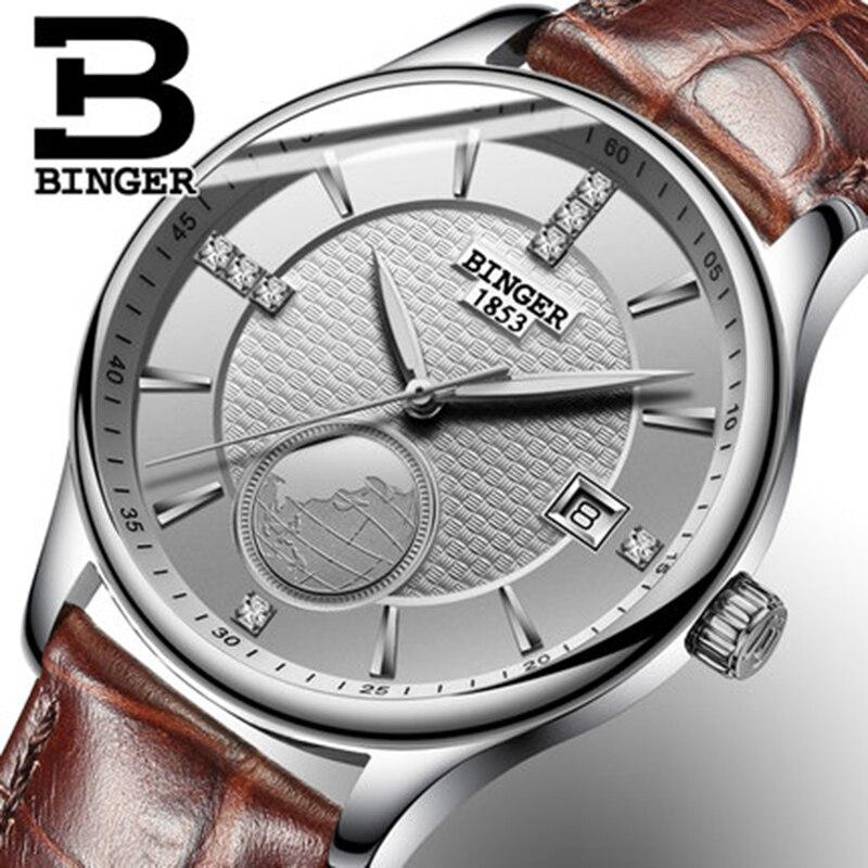 Genuine Luxury BINGER men waterproof stainless steel leather strap automatic mechanical watch 18K gold brown strap calendar