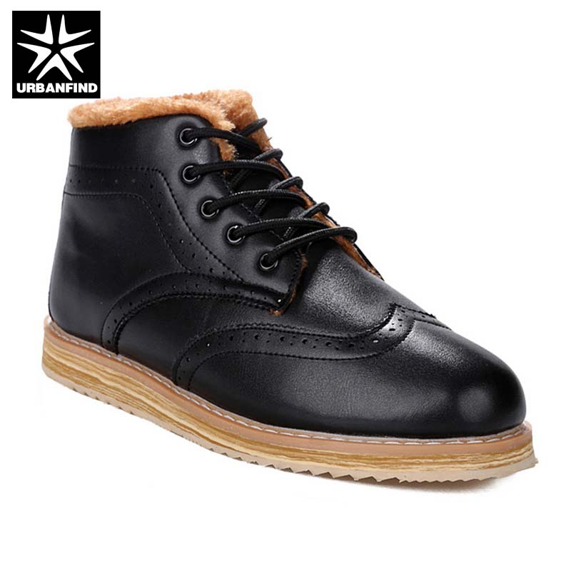 Retro Style Men Ankle Boots Autumn Winter Shoes Size 37-44 Warm Fur Lining Man Boots Lace-up Male Platform Footwear [krusdan]british style men autumn winter boots solid casual genuine leather retro boots falts brand red wine male ankle boot