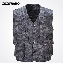ZOZOWANG 2019 Autumn Army vest v neck print camouflage single breasted vest men fashion pockets plus size loose waist coat men army green side pockets v neck short sleeves camouflage dress
