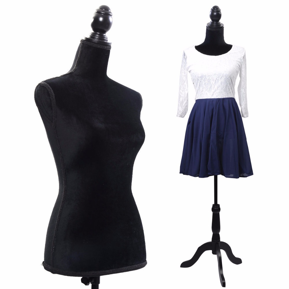 Noir femme Mannequin torse robe forme affichage W/noir trépied support nouveau HW50080BK