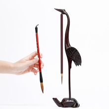 2 Hooks Pteroca Rpus sp  wood Pen Hanging  Brush Calligraphy Pen Holder Resting Four Treasures Calligraphy Frame Accessories Kit
