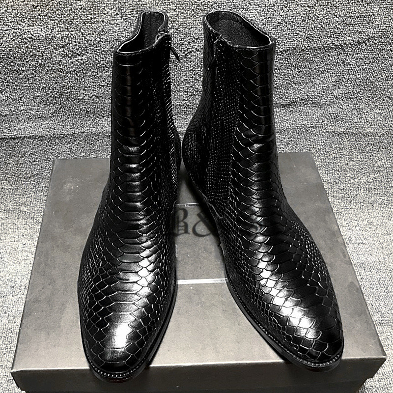 Black& Street New Genuine Leather Serpentine High Zipper Men Boots Pointed Toe Customized Men Dress Wedding Leather Boots