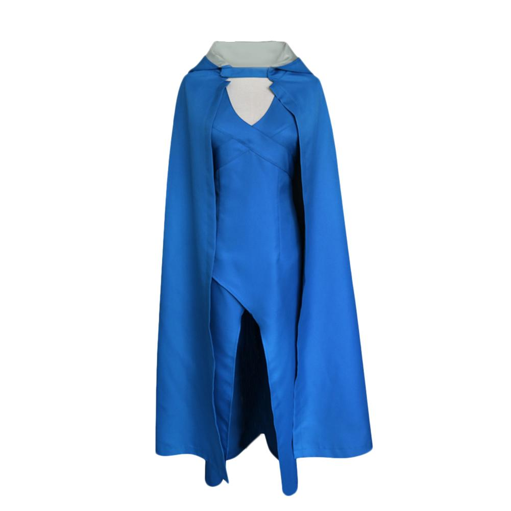 Free Shipping Game Of Thrones Daenerys Targaryen Blue Dress Halloween Carnival Cosplay Female Costume Women Dress & Cloak