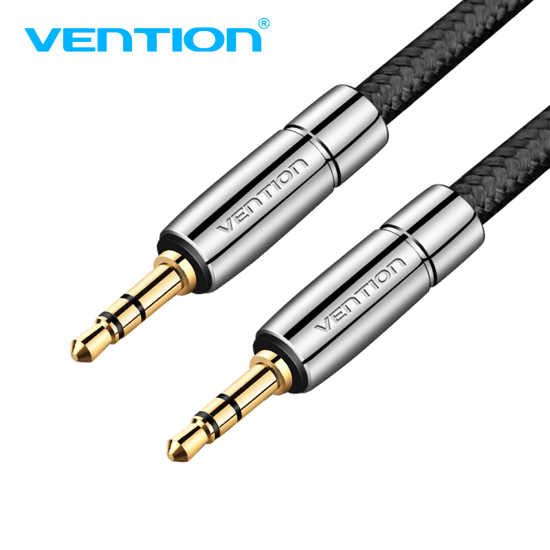 Vention Jack 3.5 AUX Cable Gold-Plated 3.5mm Male to Male Metal Nylon Braid Stereo Audio Cable for Car iPhone MP3/MP4 Headphone vention male to male aux cable 3 5mm for car